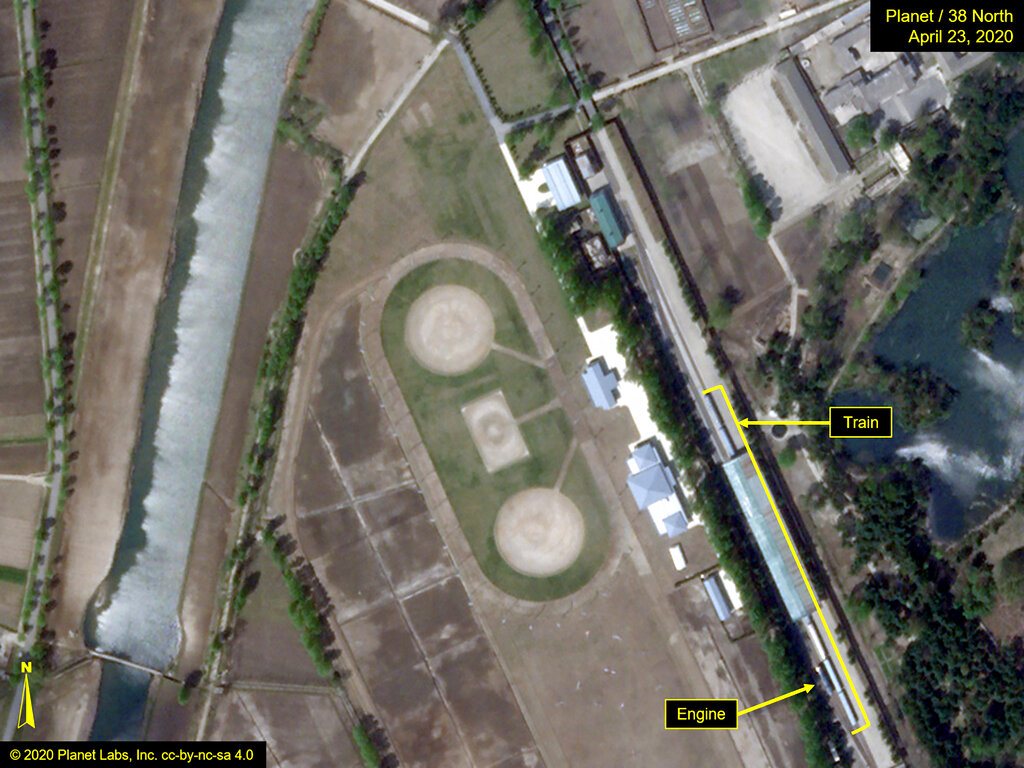 This Thursday, April 23, 2020, satellite image provided by Planet Labs and annotated by 38 North, a website specializing in North Korea studies, shows the Leadership Railway Station in Wonsan, North Korea. North Korean leader Kim Jong Un's train has been parked at the Leadership Railway Station servicing his Wonsan compound since at least April 21, the website 38 North said Saturday, April 25, citing an analysis of recent satellite photos of the area. The website said that the approximately 250-meter (820-foot) -long train wasn't present on April 15 but was present on both April 21 and 23.