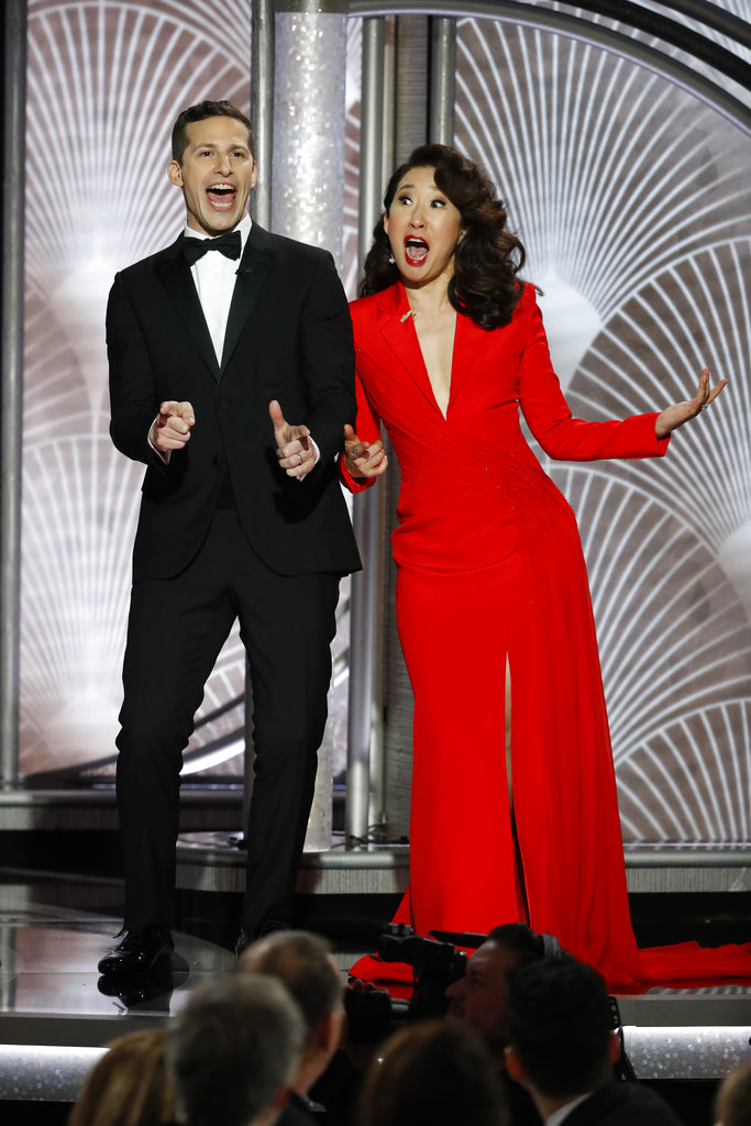 Co-hosts Sandra Oh and Andy Samberg opened the Globes on a note of congeniality, including a mock roast of attendees and a string of jokes that playfully critiqued Hollywood. Oh performed an impression of a sexist caveman film executive who casts like the title of Damien Chazelle's Neil Armstrong drama: