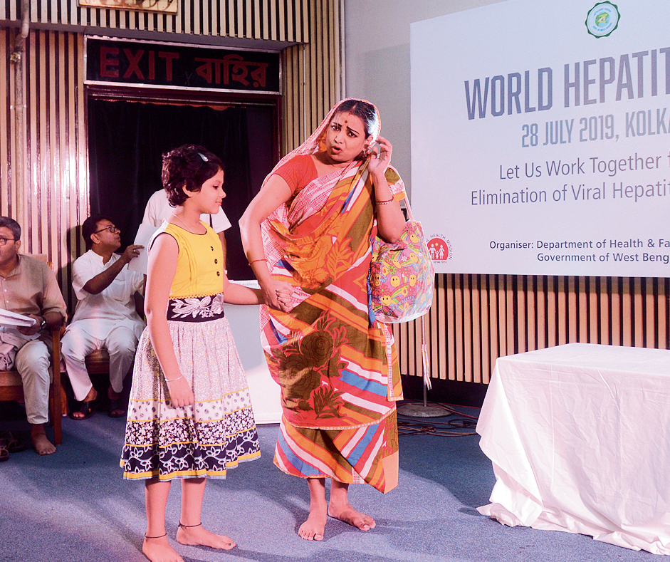 A play being presented at Nandan to spread awareness on hepatitis on Sunday.