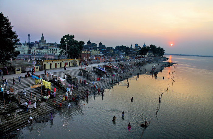 A view of Ayodhya from the bridge of the Sarayu river
