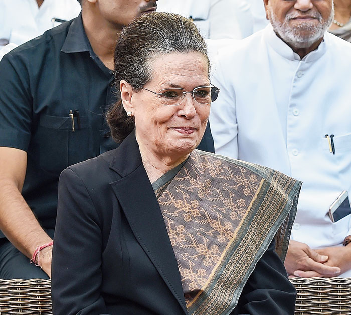 Congress president Sonia Gandhi at a programme on Indira Gandhi's 102nd birth anniversary in New Delhi on Tuesday.