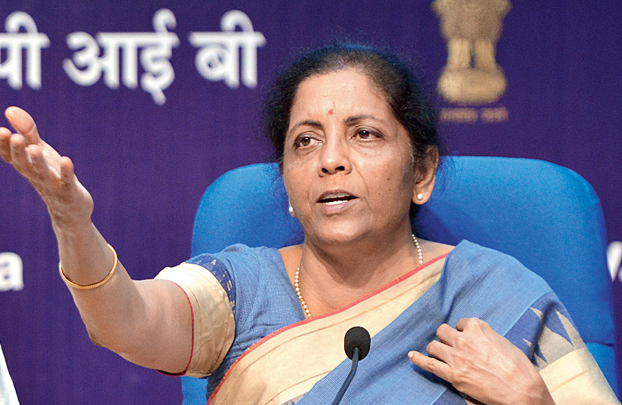Nirmala Sitharaman at the news conference in New Delhi on Friday.