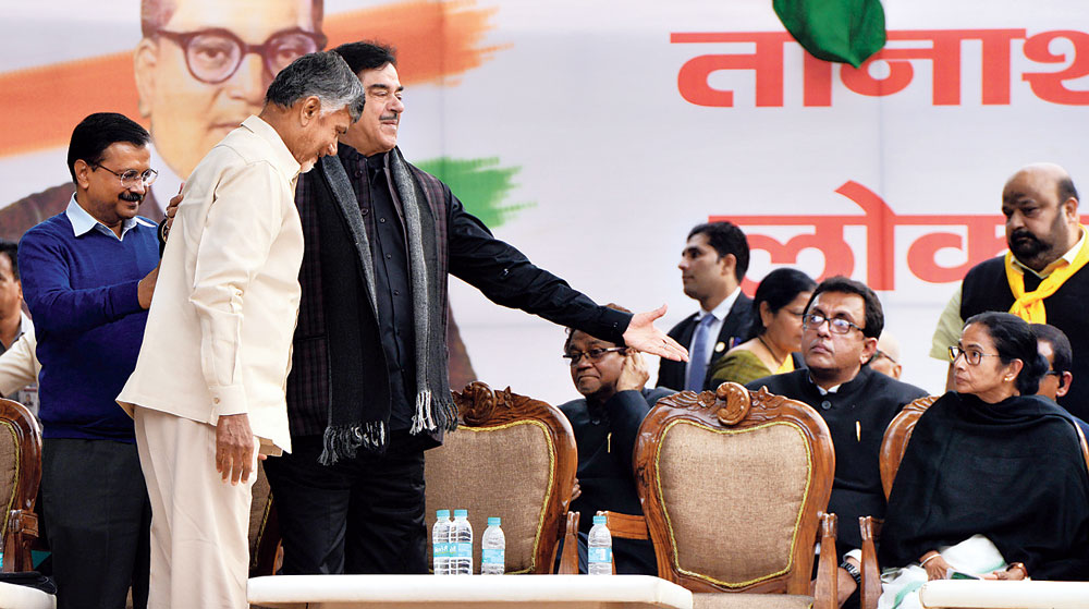 Opposition leaders at the rally in New Delhi on Wednesday.