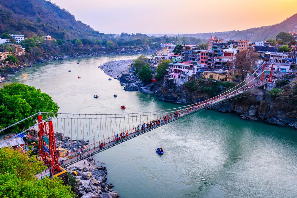 The river Ganga at Ram Jhoola (Bridge), Rishikesh, Uttarakhand.