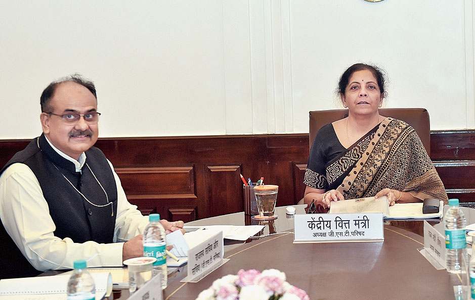 Nirmala Sitharaman with revenue secretary Ajay Bhushan Pandey in New Delhi on Saturday.