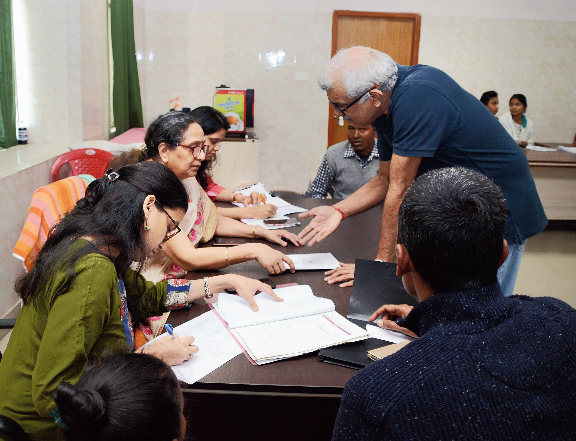 Safety first: Mamta Manglani (seated, second from left) with others at the medical camp at Ranchi Sadar Hospital on Friday.