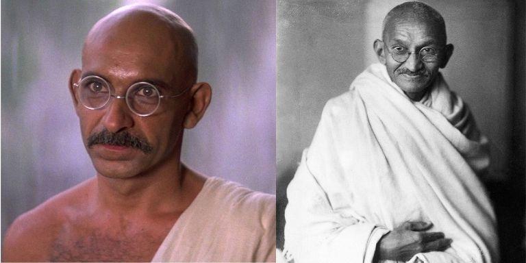 (Left to right) Ben Kingsley, and Mahatma Gandhi