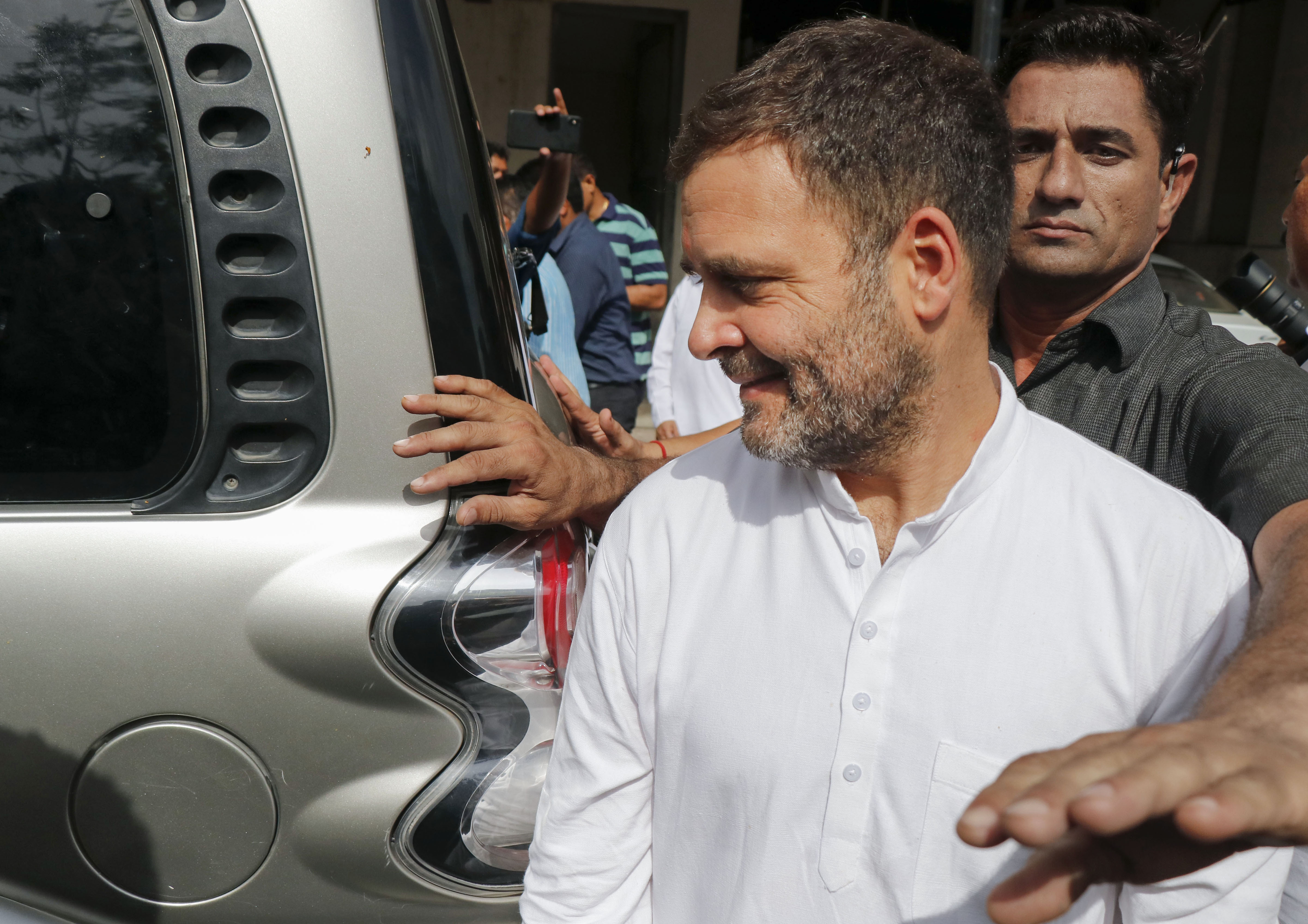 Congress president Rahul Gandhi leaves the metropolitan court in Ahmedabad on July 12.