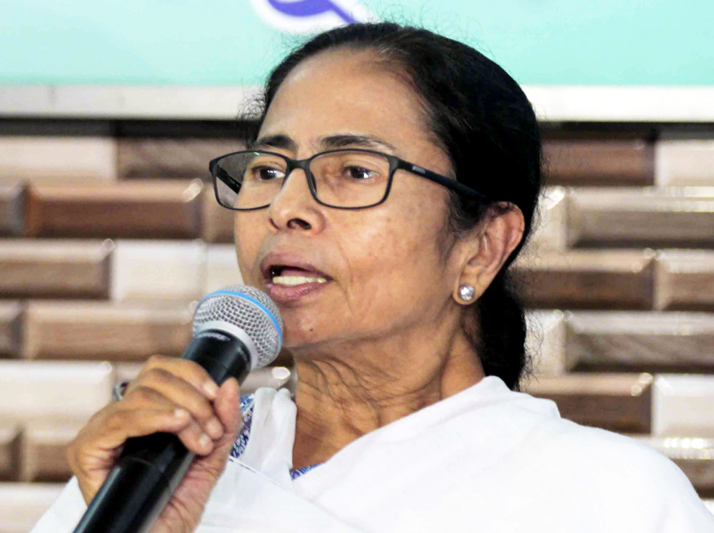 West Bengal Chief Minister and TMC chief Mamata Banerjee at a press conference after a meeting at Trinamool Bhavan, in Calcutta, Friday, June 7, 2019.