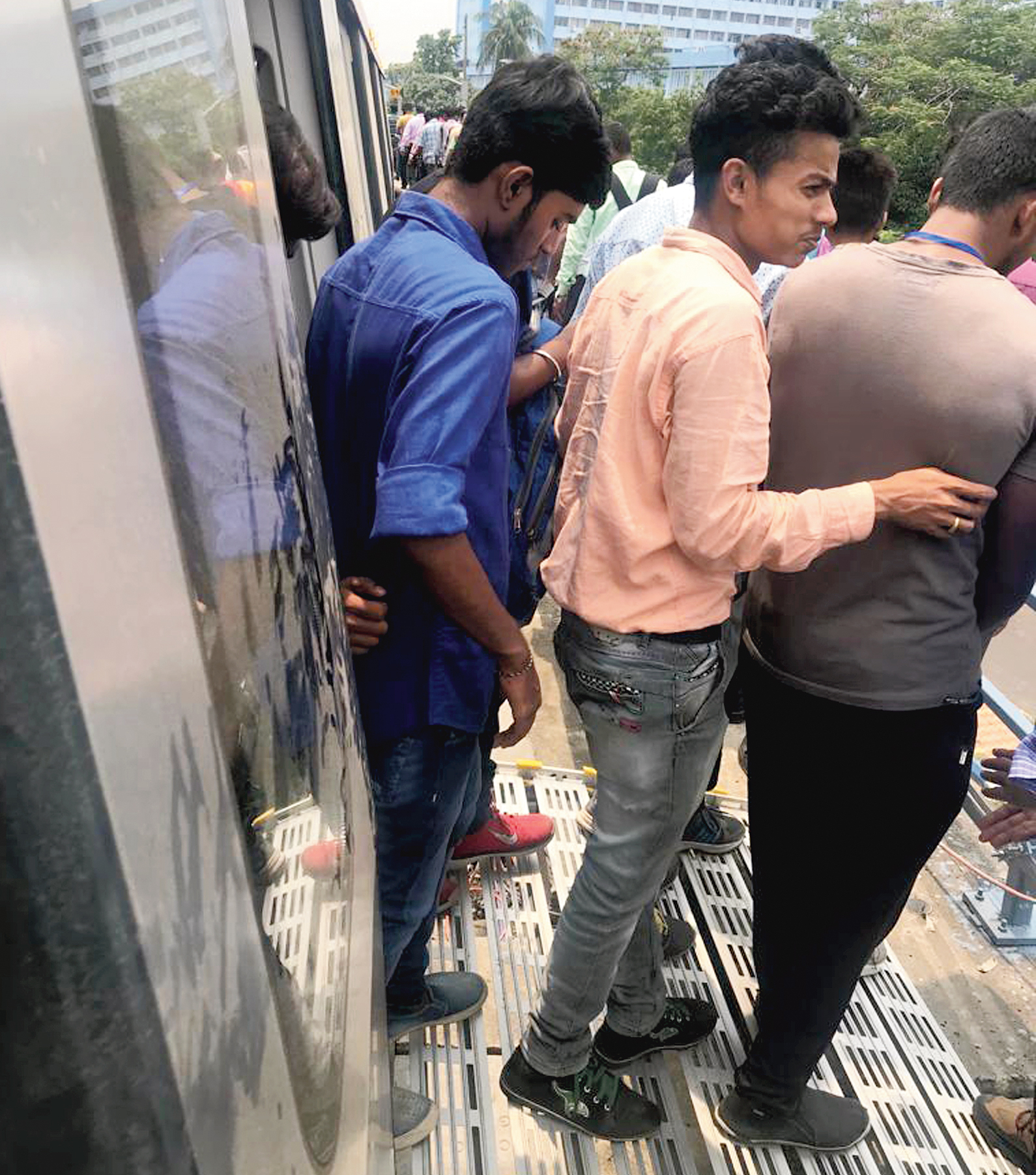 Passengers being evacuated from an East-West Metro train between two stations during a trial on Monday.