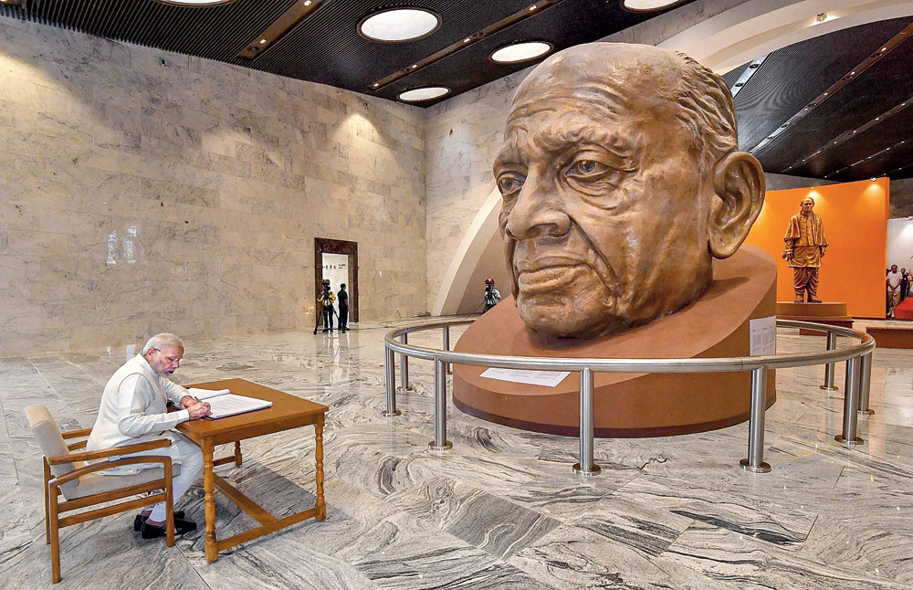Prime Minister Narendra Modi visits a  museum after the inauguration of the Statue of Unity at Kevadiya in Narmada on Wednesday.