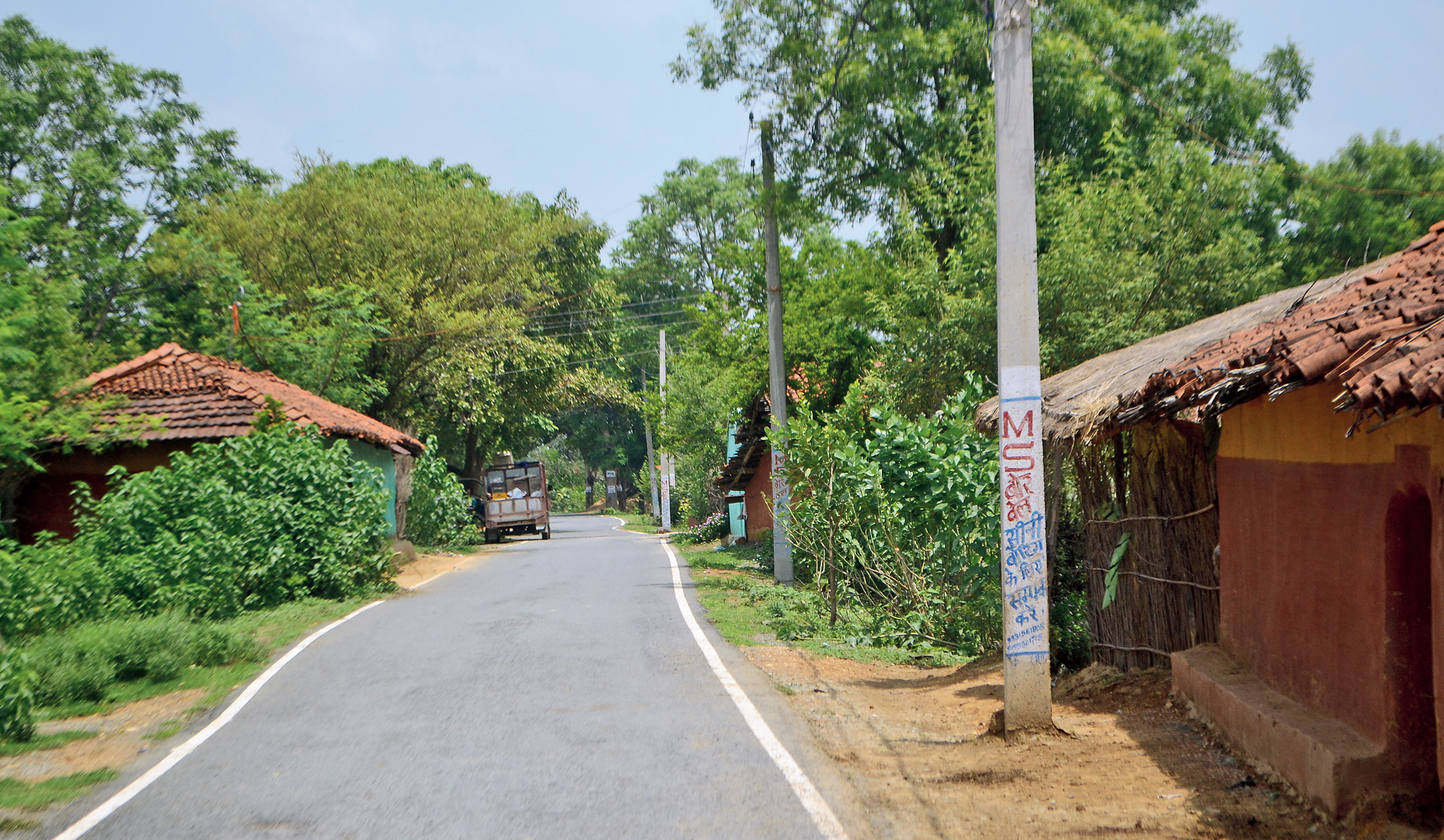 """The concrete pole to which Tabrez Ansari, a welder accused of theft, was tied and beaten at Dhatkidih village in Seraikela, around 35km from Jamshedpur, in the wee hours of June 19.  Tabrez died in judicial custody on Saturday. Police said a video clip that shows Tabrez being forced to chant """"Jai Shri Ram"""" and """"Jai Hanuman"""" while being tied to the pole appeared to have been tampered with. The tape will be sent for forensic tests.  However, on Monday, Mamta Devi, a health worker, quoted her sister-in-law Maya Mahali as saying that Tabrez was beaten and forced to utter """"Jai Shri Ram""""."""