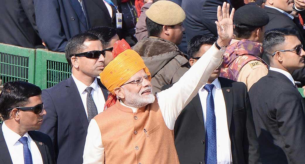 Modi at the Republic Day parade in Dehi.