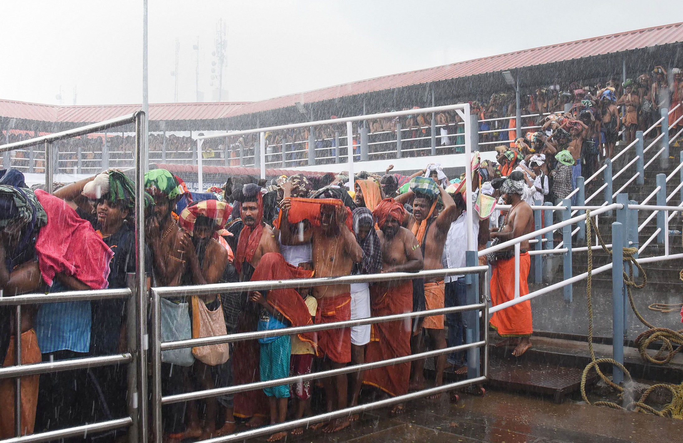 Devotees waiting to offer prayers at the Ayyappa temple in Sabarimala, on November 17, 2019.
