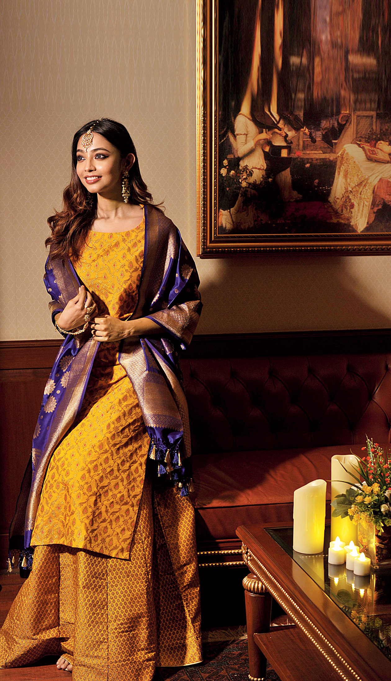 Ms Sunshine: A happy hue of marigold yellow is bound to put you in a cheery mood as you dress up for the day. The brocade kurta with jaal work has been paired with a skirt with meena bootis and a dupatta with floral patterns in a contrasting hue. Ditch the dupatta if you want to tone it down
