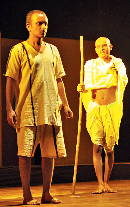 A moment from the play, Gandhi, by Vivechana Rangmandal at the Little Thespian National Theatre Festival
