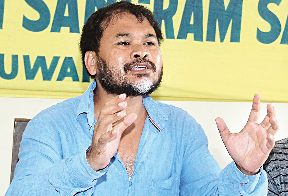 Akhil Gogoi addresses the news conference in Guwahati on Thursday