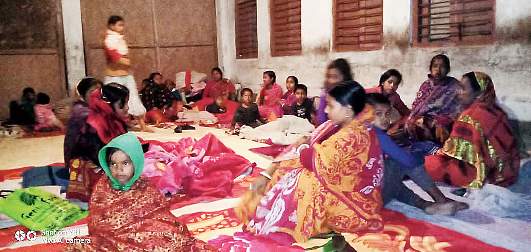 Inmates at the relief camp in Kanchanpur subdivision of North district on Saturday