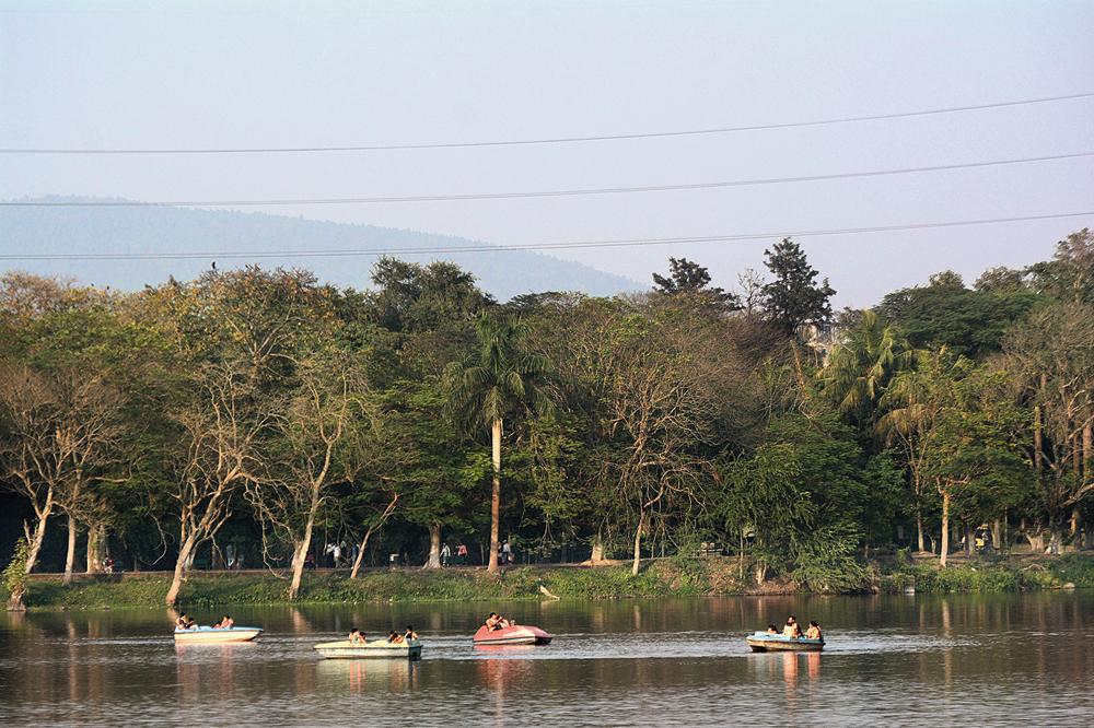Visitors enjoy boating at Jayanti Sarovar in Jamshedpur on a sunny Wednesday