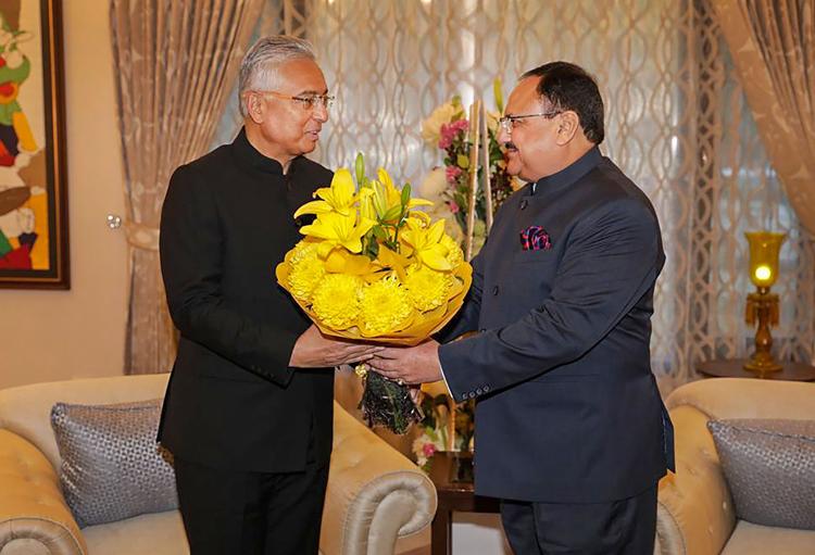 BJP working president JP Nadda meets Mauritius Prime Minister Pravind Jugnauth in New Delhi on December 8