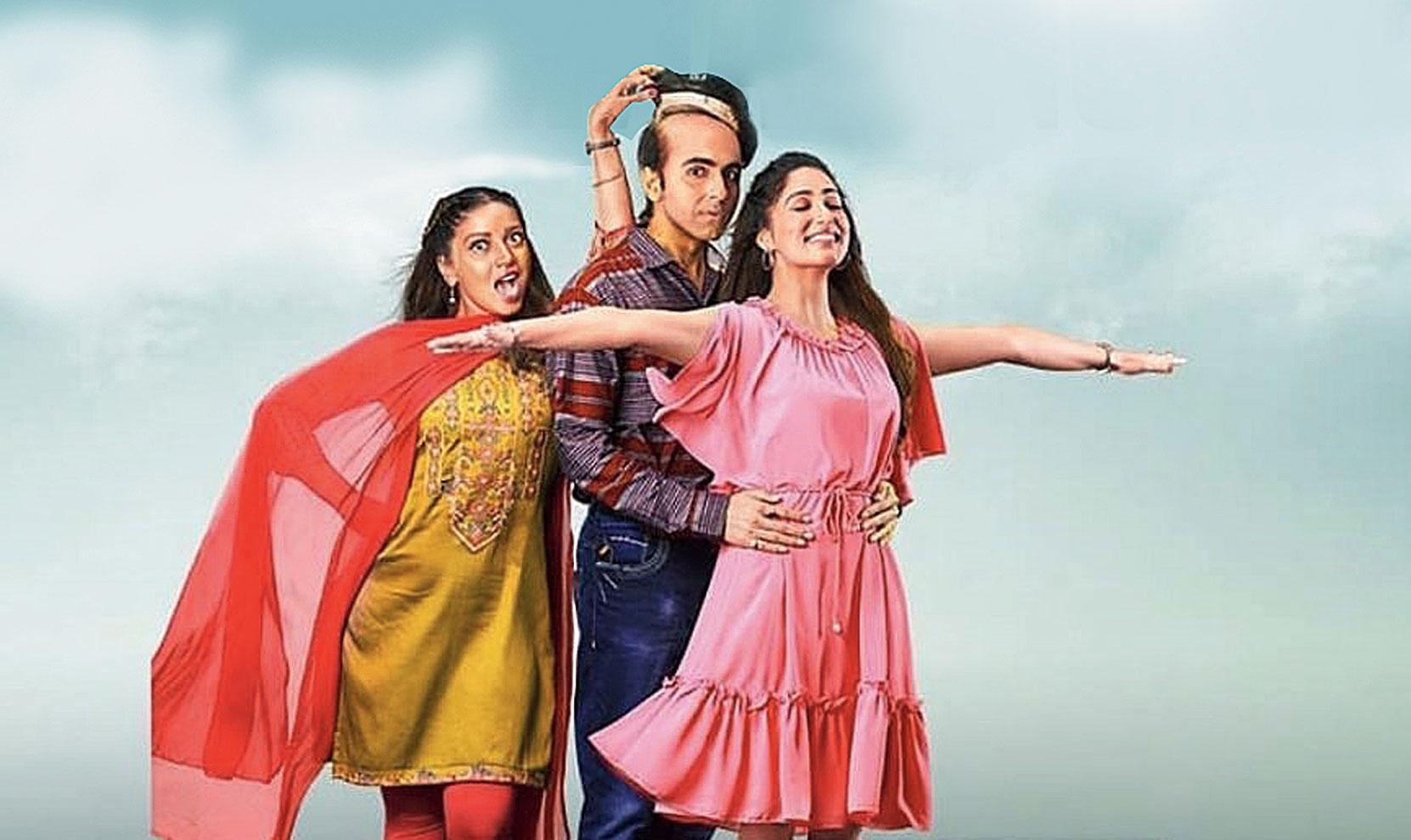 Bhumi Pednekar, Ayushmann Khurrana and Yami Gautam in Bala, now playing in cinemas