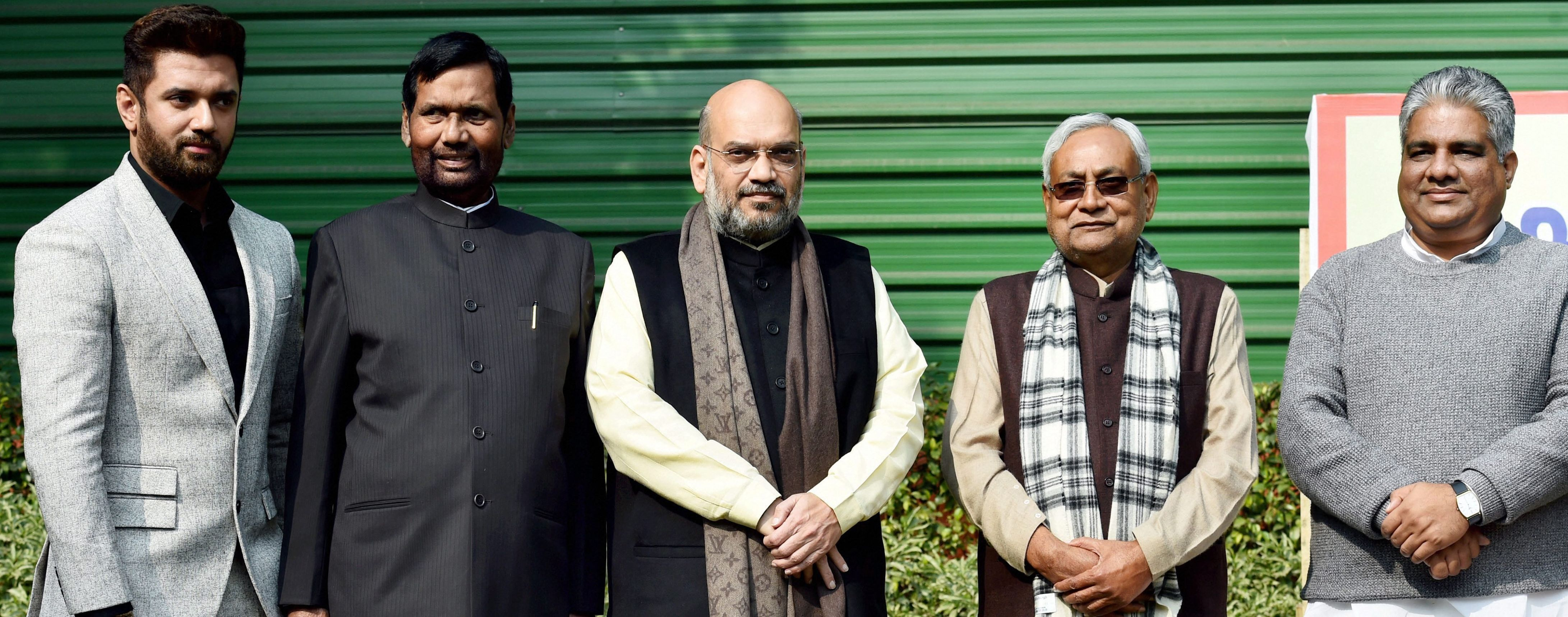BJP President Amit Shah (centre) flanked by Bihar chief minister Nitish Kumar (second from right), and LJP president Ram Vilas Paswan (second from left). In the extreme left is Chirag Paswan. At the extreme right BJP leader Bhupendra Yadav in New Delhi on December 23. The BJP announced its Bihar alliance for the Lok Sabha elections after this meeting.