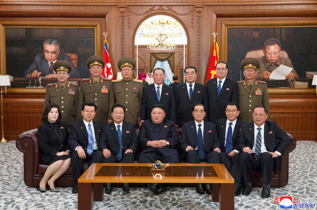 In this April 12 photo provided by the North Korean government, Kim Jong Un (front centre), poses with the newly-elected members of the leadership bodies of the Workers' Party of Korea and state in Pyongyang.