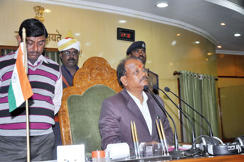 House-keeper: Speaker Dinesh Oraon in the Assembly on Tuesday.