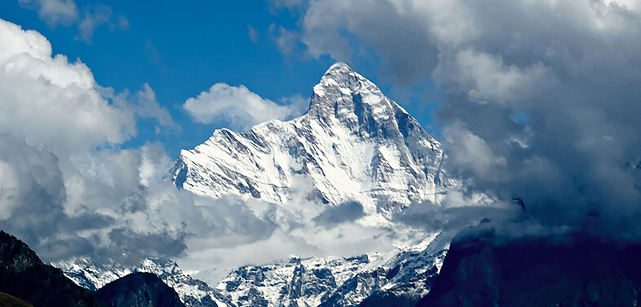 The up-close view of the distinctive Nanda Devi peak from the chopper drew an involuntary gasp