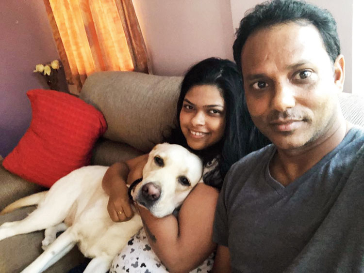 SSP Chowrasia at home with wife Simantini and Labrador Pixie