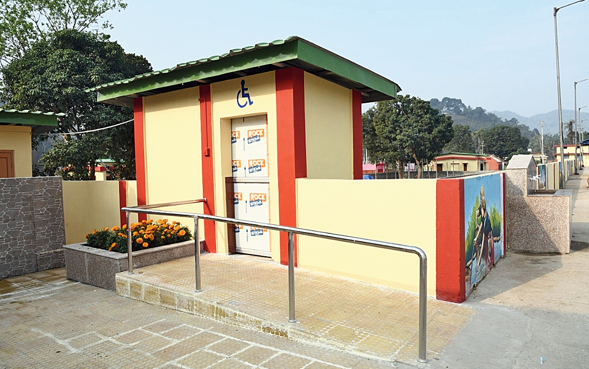 A disabled-friendly toilet at a railway station.