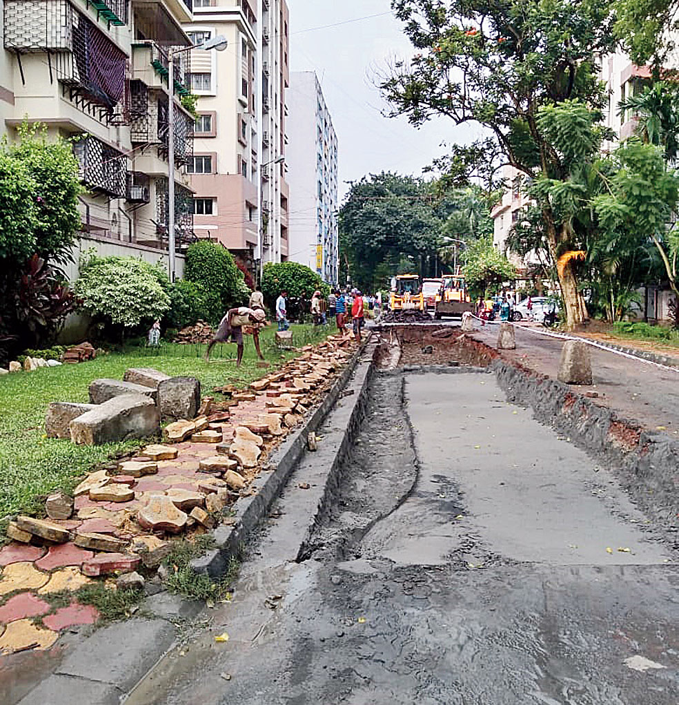 The stretch dug up for building an alternative road to connect Behala and Alipore