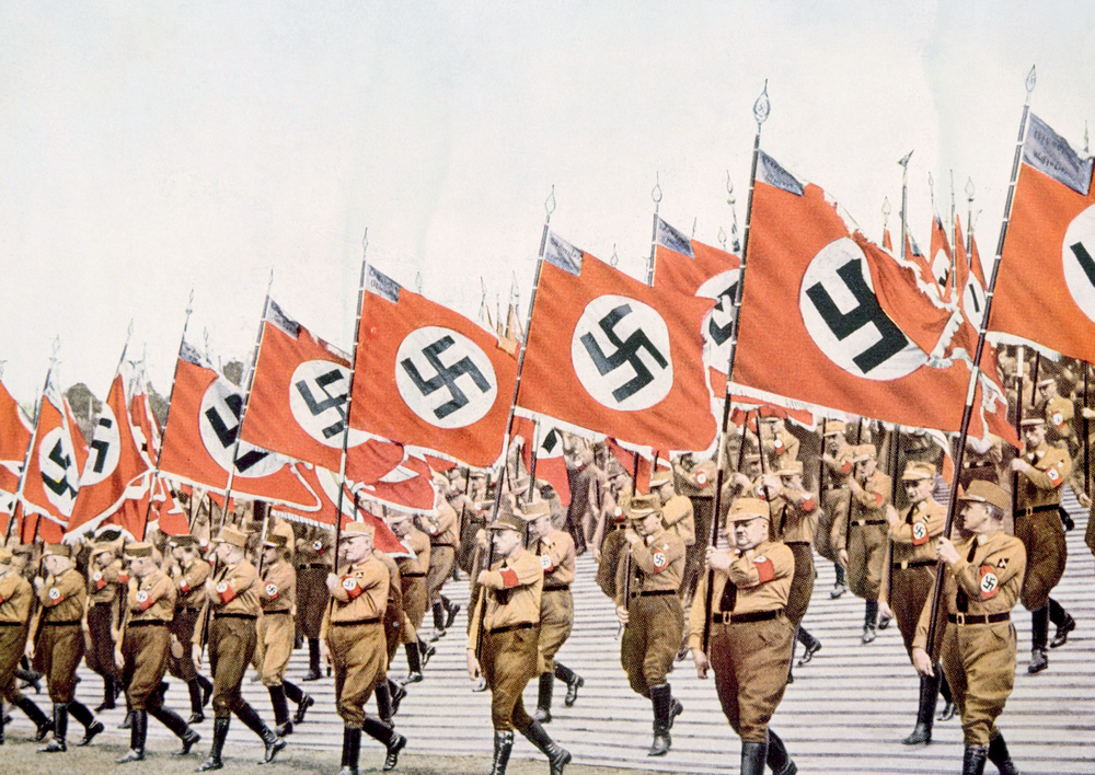 Entrance of the Nazi flagbearers at the Party Day rally in Nuremberg, 1933.