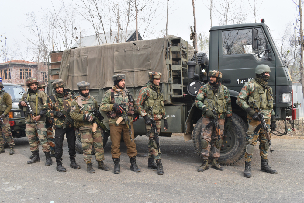 Indian army troopers stand alert on the outskirts of Srinagar. Image used for representational purpose only.