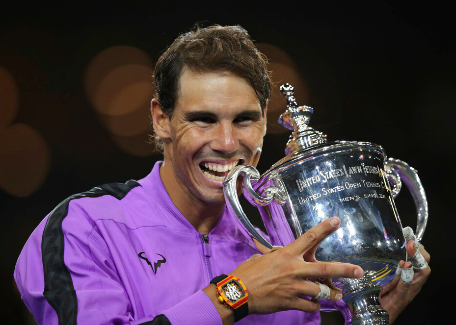 Rafael Nadal poses with the trophy after defeating Daniil Medvedev, to win the men's singles final of the US Open championship Sunday, September 8, 2019, in New York.