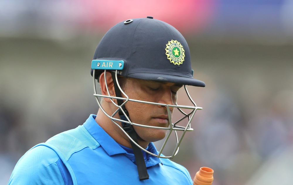 MS Dhoni after his dismissal by New Zealand's Martin Guptill in the ICC Cricket World Cup 2019 semi-final on July 10