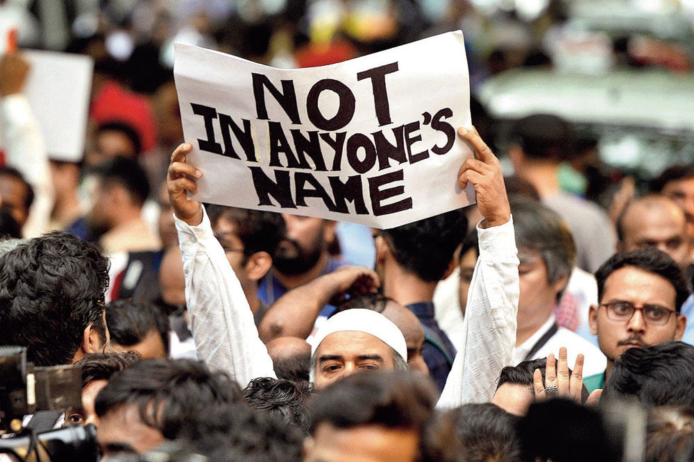 Participants at an anti-lynching rally near Jantar Mantar, New Delhi. Incidents such as the attack on Tabrez Ansari are a stain not just on Indian democracy but also on humanity.