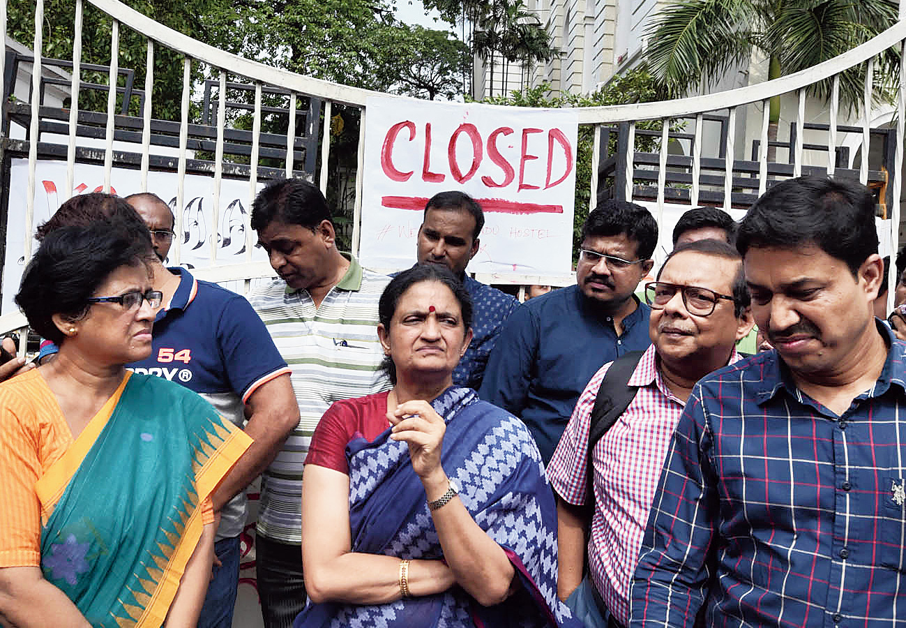 A file picture of Presidency VC Anuradha Lohia outside the closed main gate in September last year.