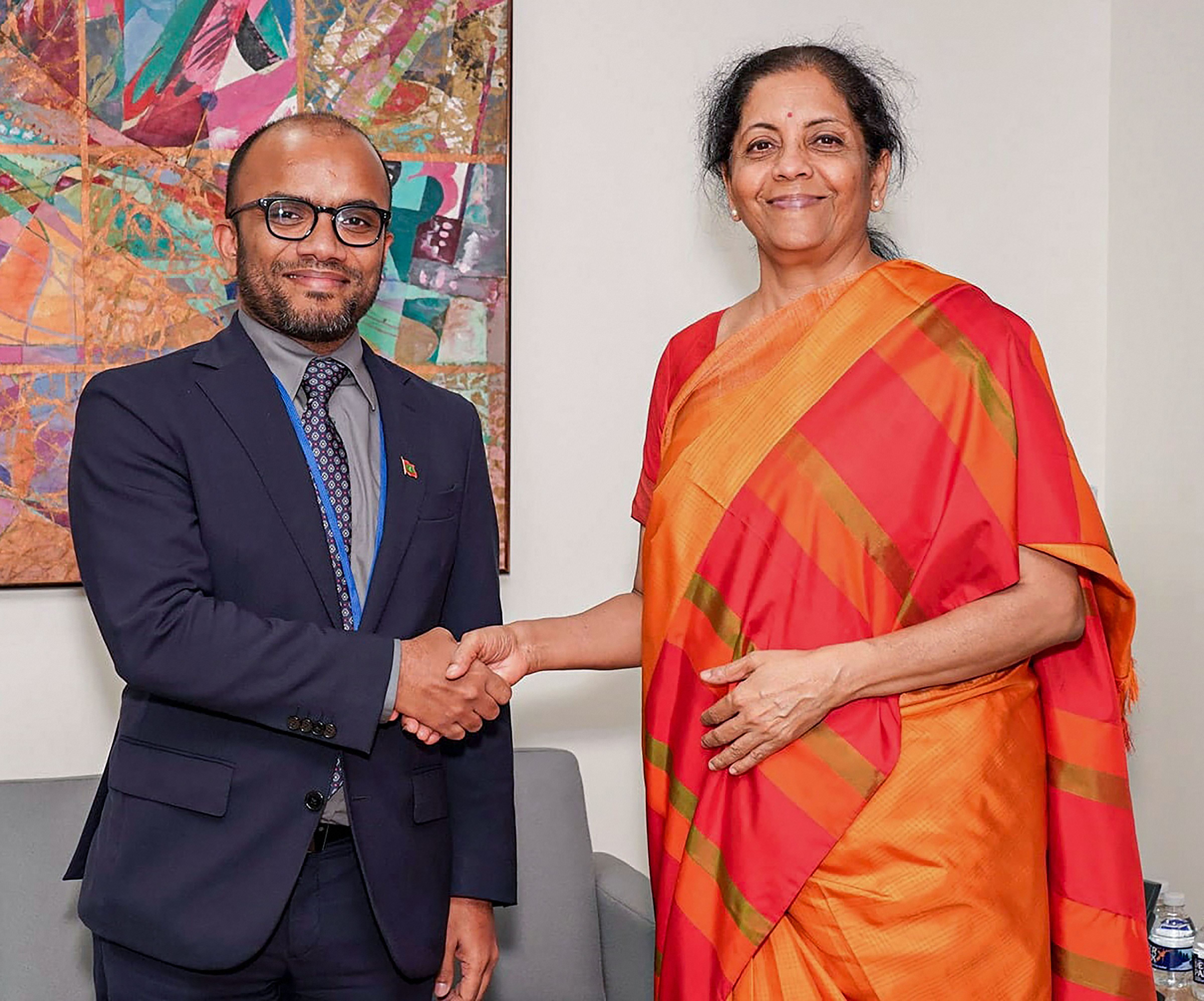 Union minister for finance and corporate affairs Nirmala Sitharaman meets Maldives finance minister Ibrahim Ameer, on the sidelines of the IMF-WB Annual Meetings 2019, in Washington DC, USA, Friday, October 18, 2019.
