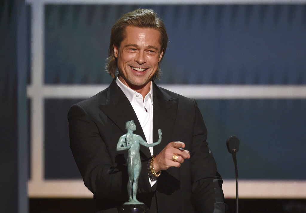Brad Pitt accepts the award for outstanding performance by a male actor in a supporting role for