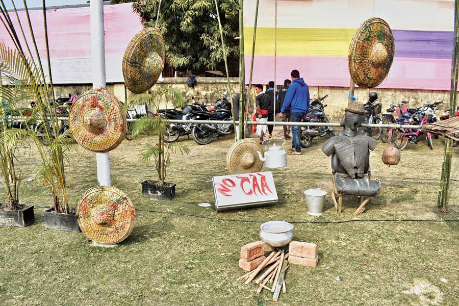 The anti-Citizenship Amendment Act installation at the Kalaguru Sangeet Mahotsav at Tangla in Assam's Udalguri district on Friday.