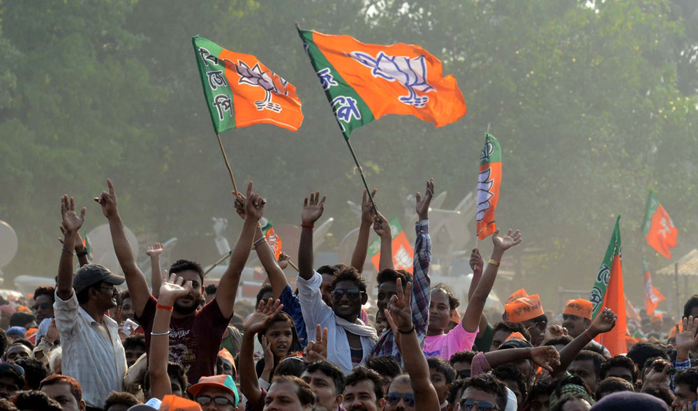 BJP supporters at Modi's rally in Kharagpur, West Bengal