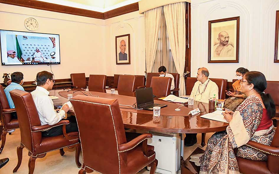 Nirmala Sitharaman during a video conference with G20 finance ministers in New Delhi on Wednesday.