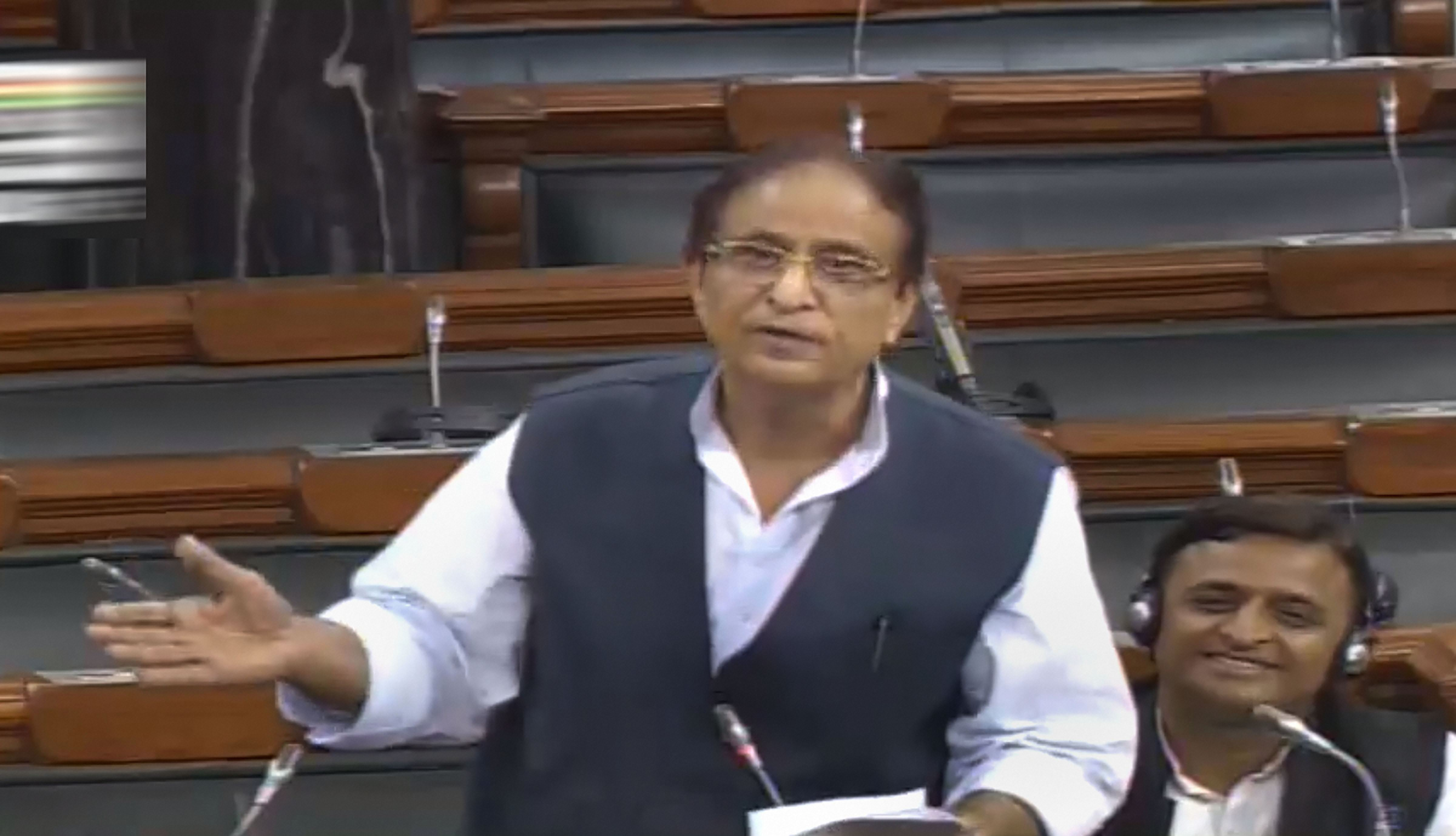 Samajwadi Party MP Azam Khan speaks in the Lok Sabha during the ongoing Budget session in New Delhi on Thursday.