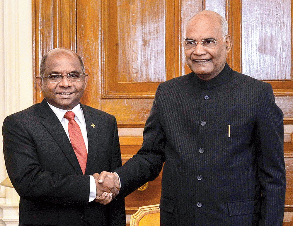 Maldives foreign minister Abdulla Shahid (left) with Indian President Ram Nath Kovind at Rashtrapati Bhavan on Tuesday.