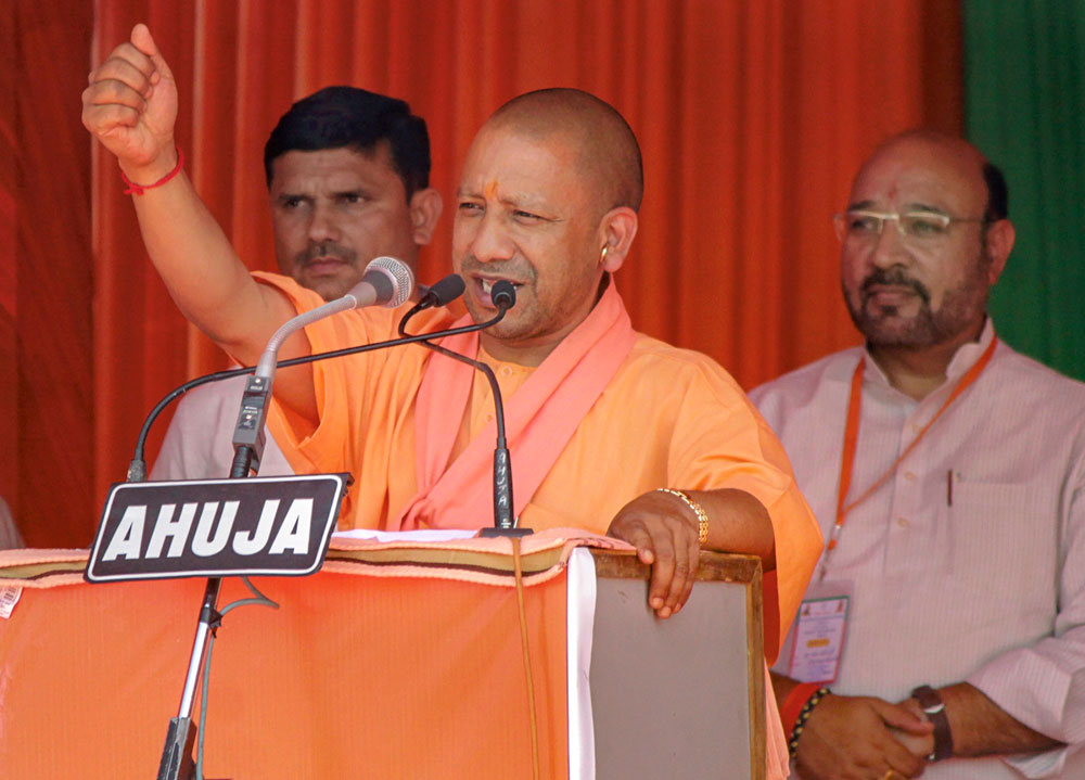 Uttar Pradesh Chief Minister Yogi Adityanath addresses an election rally in support of BJP candidate VK Singh, ahead of the Lok Sabha elections, in Ghaziabad, Sunday, March 31, 2019.