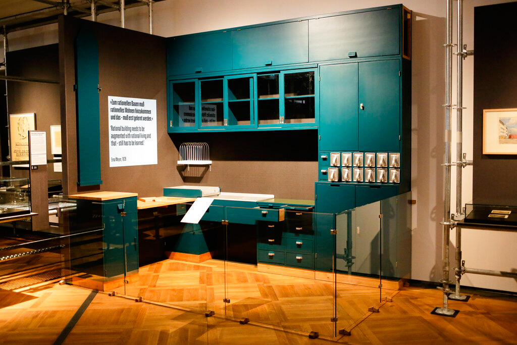 In this Wednesday, April 3, 2019 photo, a historic 'Frankfurter Kitchen' is displayed at the exhibition 'Weimar: The Essence And Value Of Democracy' at the German Historical Museum in Berlin, Germany.