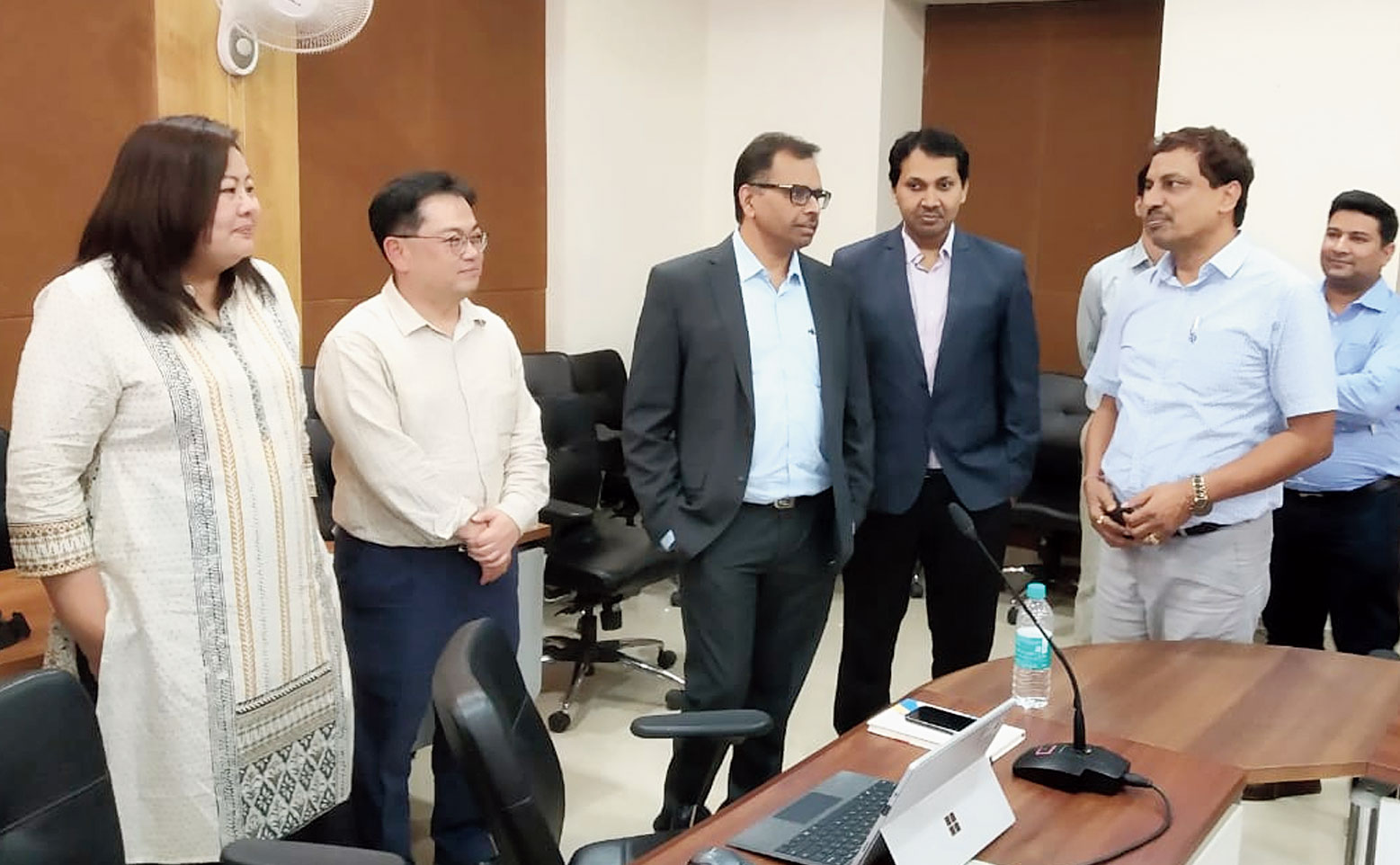 State urban development secretary Ajoy Kumar Singh (right) interacts with the ADB team in Ranchi on Friday.