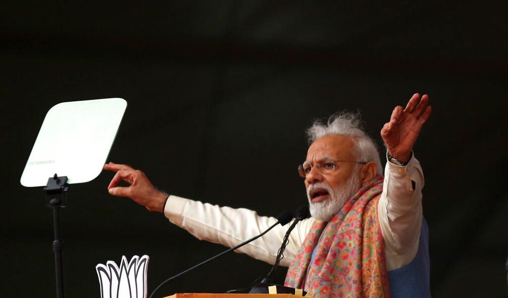 Narendra Modi at a rally in New Delhi on Sunday