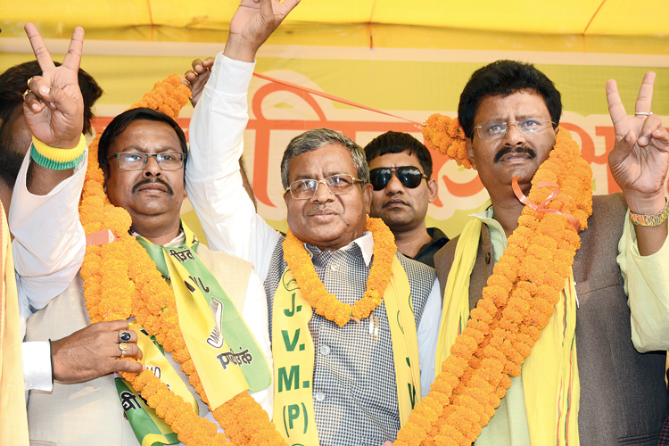 JVM chief Babulal Marandi in Mango, Jamshedpur, on Friday